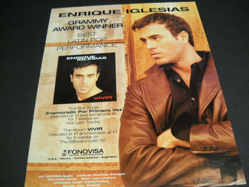 ENRIQUE IGLESIAS Grammy Winner for BEST LATIN POP 1997 original PROMO POSTER AD