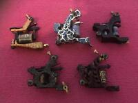 Five tattoo machines, tattoo guns