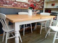 Stunning 5ft Pine Handmade Table and Chair Set