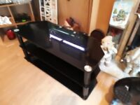 BLACK GLASS TV STAND EXCELLENT CONDITION 3 SHELVES