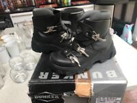 Black leather bunker boots