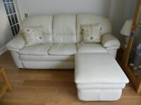 HATFIELDS REAL LEATHER CREAM 3 PIECE SUITE + STORAGE POUFFE / FOOTSTOOL IMMACULATE