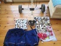 Golf Bundle: Trolley, Waterproof suit (Large), Gloves, Balls, Tees