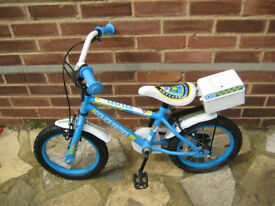 HALFORDS APPOLO CHILDS POLICE BIKE, SUIT 4-6 YRS, 14 INCH WHEELS, TOYS