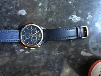 Festina navy blue leather strap real rose gold good condition