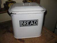 Vintage White Enamel with Blue Lettering Bread Bin and Lid