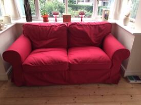 Ikea EKTORP 2 & 3 Seater Sofas - Red Covers - As New