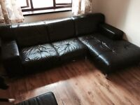 DFS leather L shape sofa & 2 seater