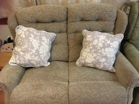 FREE for uplifting - beige 2 seat sofa (HSL?) Excellent condition. Fire label attached.