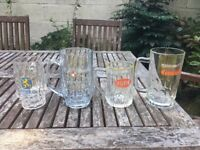 Large Collection of Vintage Pink and Half Pint Beer Tankards / Glasses