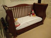 Cotbed/toddler/newborn solid wood Sleigh bed by Tutti Bambino bed in excellent condition