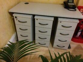 Filing drawer units, under-desk, slimline, three available