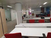 7 White 2-pod/bench/hot desk call center office desks