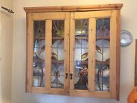 Pine wall display cabinet with shelves & glass doors