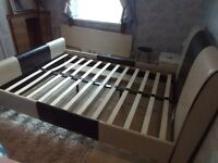 Cream+Brown Leather Double Bed Frame