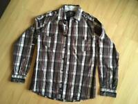 Designer long sleeved check shirt age 14