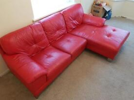 Ferrari red leather sofa with right hand chaise