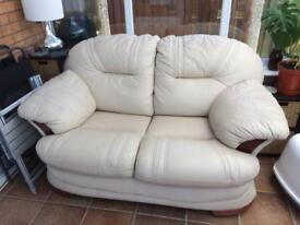 Cream Leather sofa 2 seater with foot stool