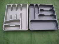 Two Grey Plastic Kitchen Drawer Organisers for ONLY £2.00