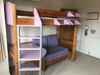 STOMPA High Sleeper Bed with double Futon and Desk