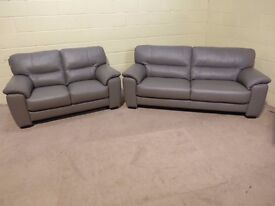 'SHADES' 3&2 SEATER SOFAS 100% LEATHER IN ELEPHANT GREY EX DISPLAY SUITE