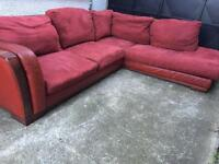 Red leather sofa + suede cushions •free delivery•