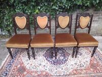 NOUVEAU HAND CARVED MAHOGANY DINING CHAIRS RECENTLY RE-UPHOLSTERED V.G.C