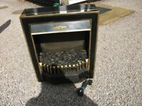 REAL COAL EFFECT ELECTRIC FIRE BRASS FITMENTS GOOD WORKING CONDITION