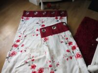 HARRY CORRY PAGE RED FLORAL CURTAINS, FLOWERS AND CANDLES