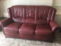 Leather Three seater sofa and arm chair