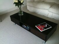 Coffee Table Dark wood colour low with two drawers very stylish