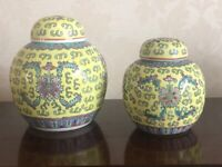 A beautiful pair of vintage Chinese hand-painted Yellow Famille Rose Mun Shou 13cm's Tall