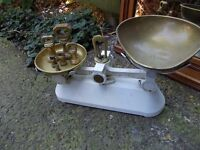 Vintage scales with brass bell weights