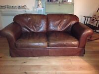 Laura Ashley Tan / Brown Leather Large Chichester Two Seater Sofa / Settee