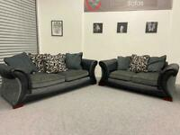 DFS lovely 3 & 2 grey fabric sofas suite