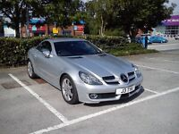 Silver Mercedes SLK 200 convertible with tiptronic gearbox. Sports Trim. 51300 miles. £7995 OVNO.
