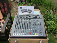 PA Sound Equipment including: 8 Channel Mixing Desk, Speakers, Mics, Stands etc, plus small amp
