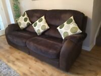 Dark brown three seater sofa for sale. Very good condition. Width 221cm. Buyer to uplift.