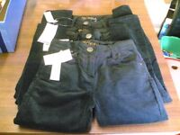 BNWT 3 PAIRS GIRLS BLACK VELOUR STYLE `SKINNY` JEANS - AGES 7, 8 & 9 - ADJUSTABLE WAIST
