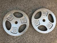 2 x 10 kg cast iron weight plate weights