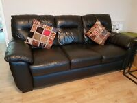 2 X 3 Seater - Black Leather DFS Sofas! Excellent Condition!