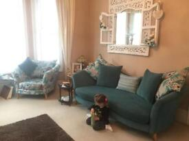 Large Teal Green Curve Sofa & Matching Accent Chair