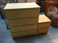 FOUR DRAWER IKEA CHEST WITH A BEDSIDE CABINET