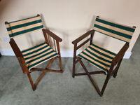 Vintage Directors Style Folding Garden Deck Chairs