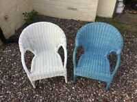 2 basket weave childrens chairs - suitable for ages from 3 to 7