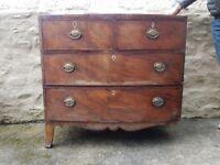 Three legged, six draw chest of drawers!