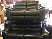 NEW/EX DISPLAY LazyBoy BLACK LEATHER SOLOMON 3 + 2 SEATER ELECTRIC RECLINER SOFAS + USB, 70% Off RRP