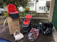 Movix pushchair with maxi cosy seat and base