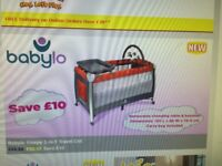 FREE DELIVERY LIKE NEW Babylo Sleepy 3-in-1 Travel Cot Mattress Removable changing table carry bag
