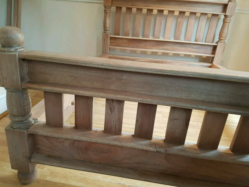 Solid natural wood double bed frame